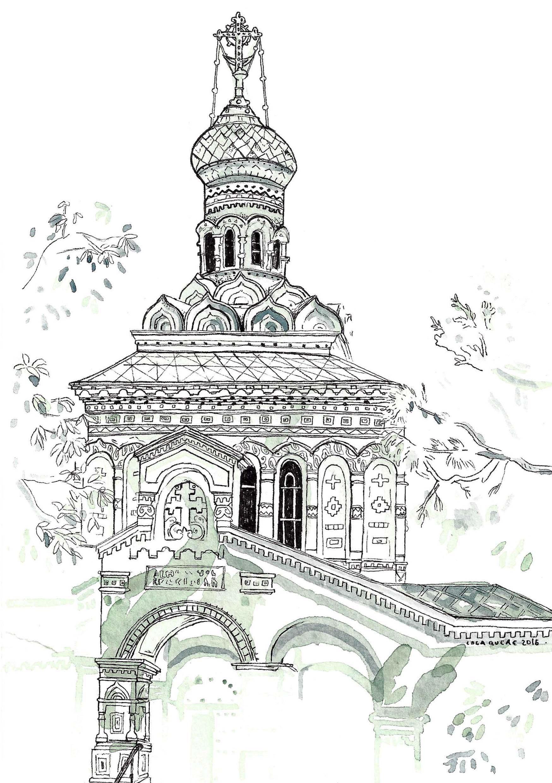 St Barbara Orthodox Chruch de Vevey - Aquarelle et stylo sur papier - 2016