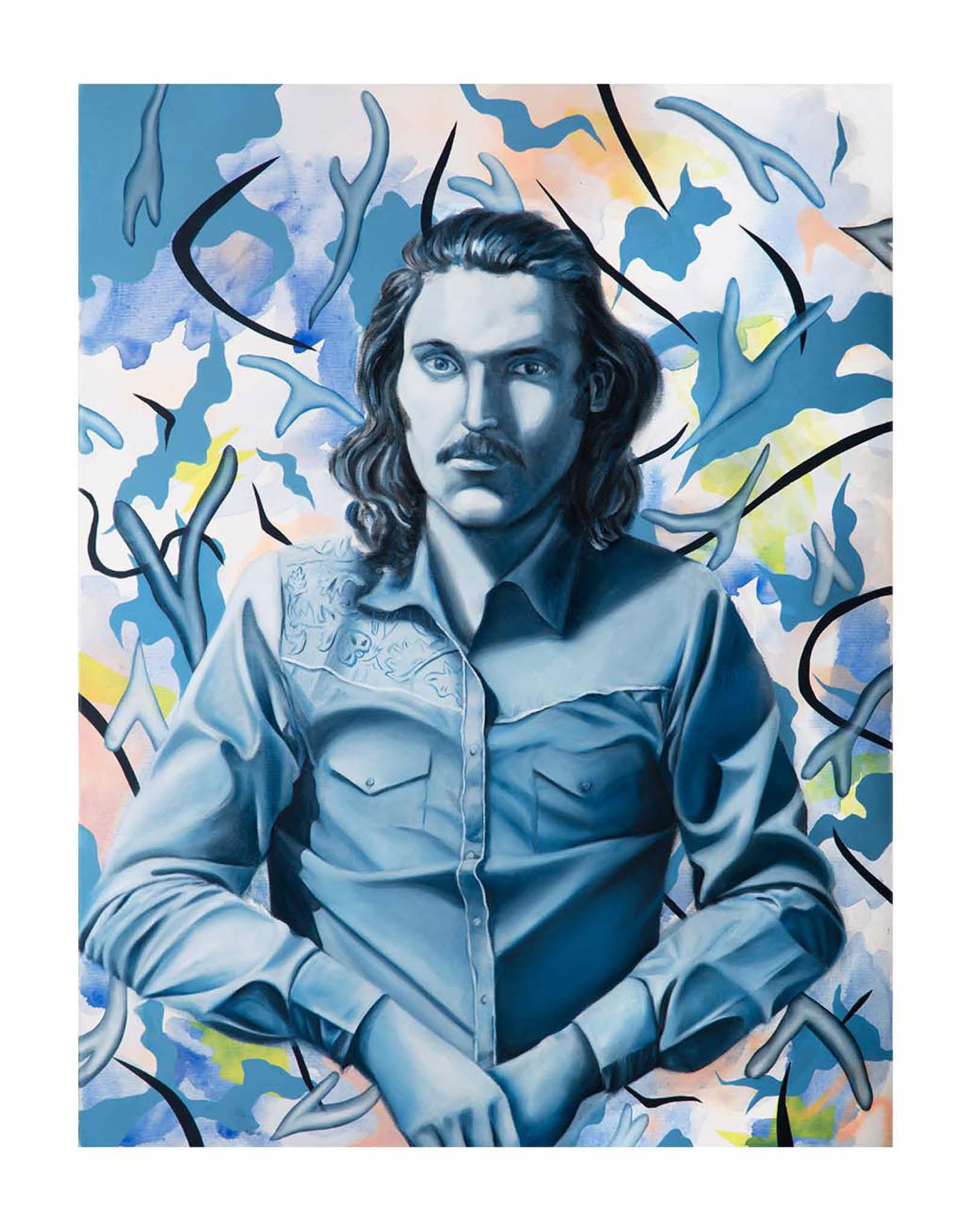 Charlie (peinture en cours) - Huile et acrylique sur toile - 95 x 72 cm - 2019