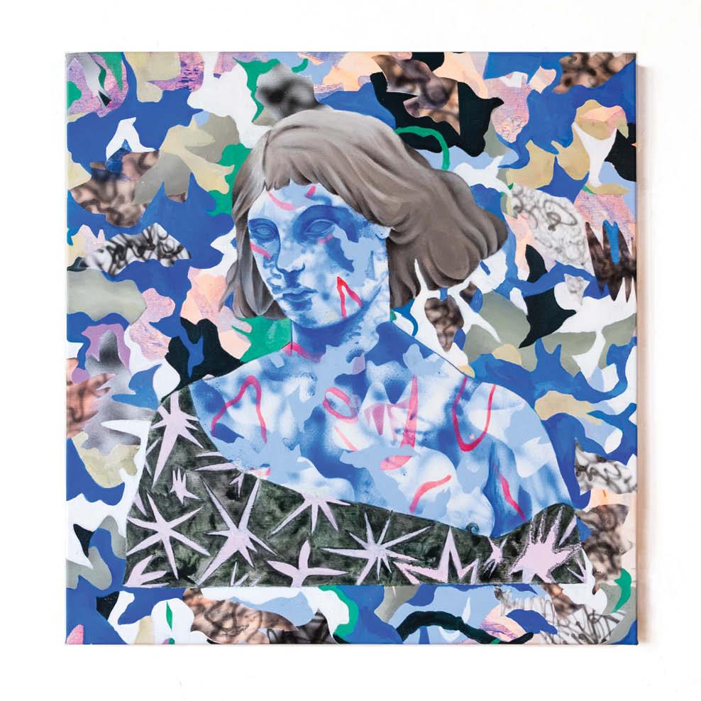 Dreamer in blue - Peinture acrylique sur toile - 43x45 cm - 2019