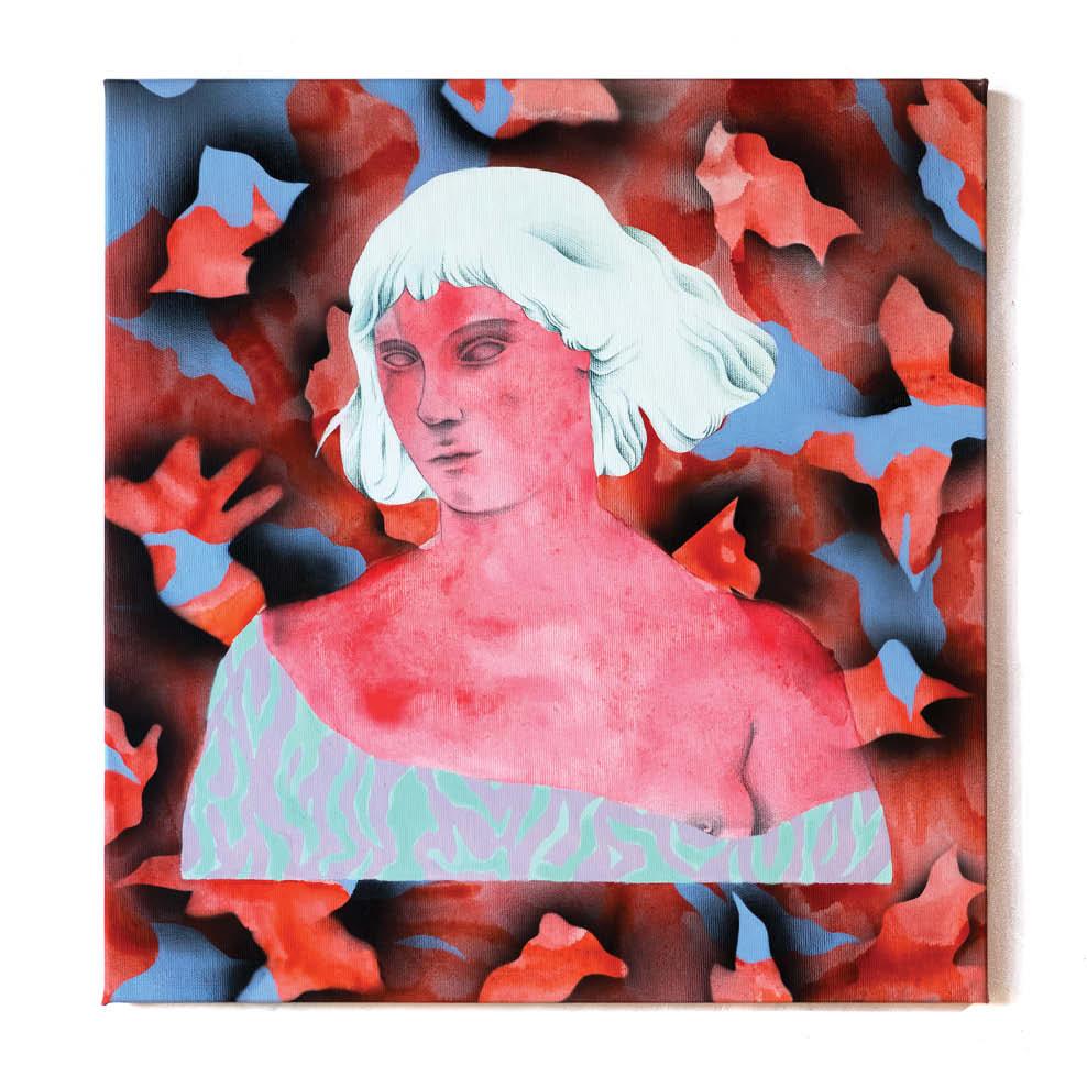 Dreamer in red - Peinture acrylique sur toile - 43x45 cm - 2019