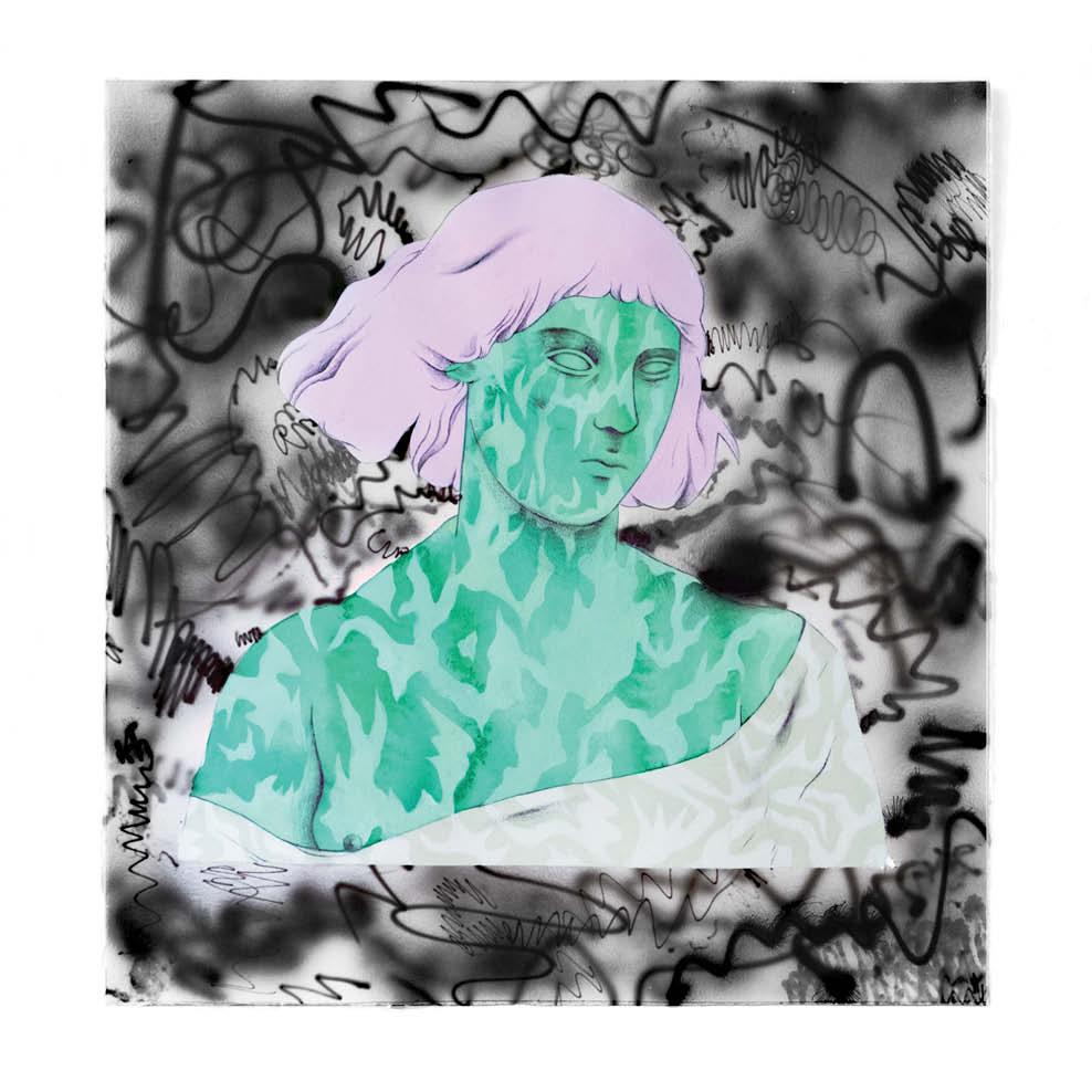 Dreamer is green - Peinture acrylique sur papier gravure - 43 x 45cm - 2019